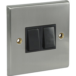 Satin Chrome / Black Switch 10A 2 Gang 2 Way - 67120 - from Toolstation