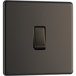 BG BG Screwless Flat Plate Black Nickel 10AX Light Switch 1 Gang Intermediate - 67257 - from Toolstation