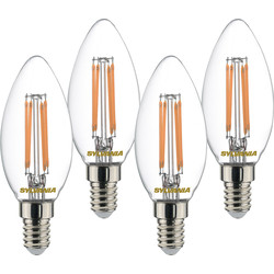 Sylvania Sylvania LED Filament Clear Candle Lamp 4.5W SES (E14) 470lm - 67527 - from Toolstation