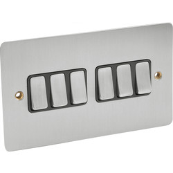 Axiom Flat Plate Satin Chrome 10A Switch 6 Gang 2 Way - 67569 - from Toolstation