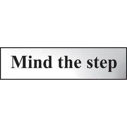 Centurion Chrome Effect Door Sign Mind the Step - 67706 - from Toolstation