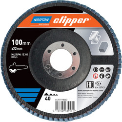Norton Flap Disc 100mmx16mm 40 Grit - 67922 - from Toolstation