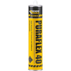 Everbuild Puraflex 40 High Modulus PU Sealant & Adhesive 300ml White - 67949 - from Toolstation