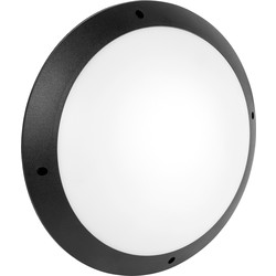 Meridian Lighting LED 12W IP66 Circular Bulkhead 300mm 1080lm A+ Black - 68348 - from Toolstation