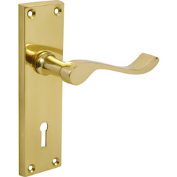 Victorian Scroll Door Handles Lock Brass - 68427 - from Toolstation