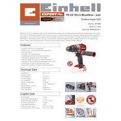 Einhell PXC 18V Cordless Brushless Combi Drill