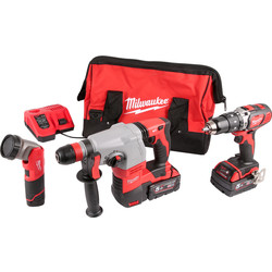 Milwaukee M18SET2B-513B 18V Li-Ion Cordless Combi Drill, SDS Hammer Drill & M12 LED Torch Kit 2 x 5.0Ah 18V & 1 x 1.5Ah 12V