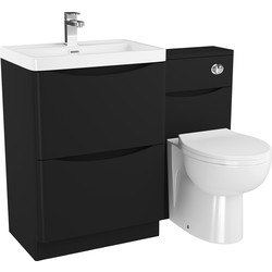 Cassellie 2 Drawer Curve Bathroom Unit Matte Black - 68522 - from Toolstation