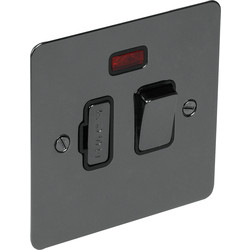 Flat Plate Black Nickel Fused Spur 13A Switched + Neon - 68613 - from Toolstation