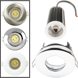 LED 9W Dimmable Fire Rated Downlight IP65 Satin Chrome 580lm 5500K Cool White - 68689 - from Toolstation