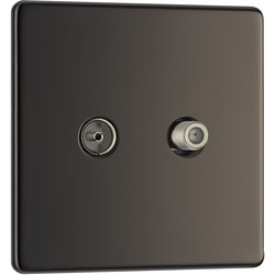 BG BG Screwless Flat Plate Black Nickel TV / Coaxial Sockets 1 Gang Coaxial & Satellite Socket - 69064 - from Toolstation