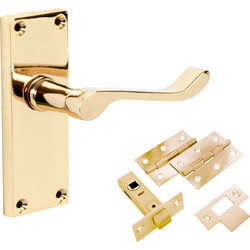 Eclipse Ironmongery Victorian Scroll Brass Handle Latch Door Pack - 69076 - from Toolstation