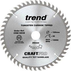Craft Trend Craft Circular Saw Blade 160 x 48T x 20mm CSB/16048 - 69259 - from Toolstation