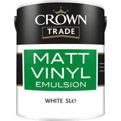Crown Trade Crown Trade Vinyl Matt Emulsion Paint 5L White - 69472 - from Toolstation
