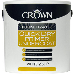 Crown Contract Crown Contract Quick Dry Primer Undercoat Paint 2.5L White - 69488 - from Toolstation