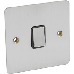 Flat Plate Satin Chrome 10A Switch Intermediate - 69593 - from Toolstation