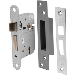 BS 5 Lever Mortice Sashlock 64mm Satin Chrome - 69628 - from Toolstation