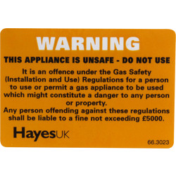 Warning Unsafe Appliance Label