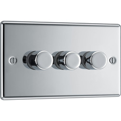 BG BG Polished Chrome Dimmer Switch 3 Gang 400W - 69681 - from Toolstation