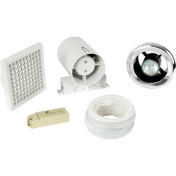 airvent Airvent 100mm Inline Shower Extractor Fan & Light Kit with Timer  - 69739 - from Toolstation