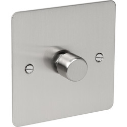 Flat Plate Satin Chrome LED Dimmer Switch 1 Gang 2 Way - 69797 - from Toolstation