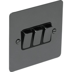 Flat Plate Black Nickel 10A Switch 3 Gang 2 Way - 69832 - from Toolstation