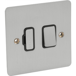 Flat Plate Satin Chrome Fused Spur 13A Switched - 69888 - from Toolstation