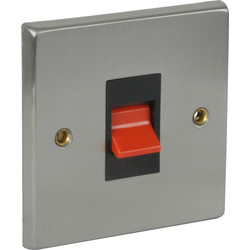 Satin Chrome / Black Double Pole Switch 45A