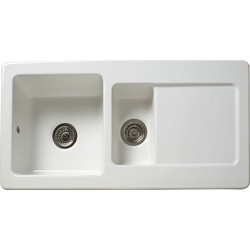 Reginox Reginox 1 1/2 Bowl Ceramic Kitchen Sink & Drainer White - 69990 - from Toolstation
