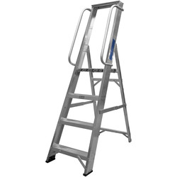 Lyte Ladders Lyte Industrial Platform Aluminium Step Ladder With Safety Handrail, 4 Tread, Closed Length 1.59m - 70715 - from Toolstation