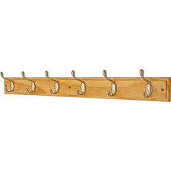 Satin Nickel on Pine Hat & Coat Rack 6 Hook - 70768 - from Toolstation