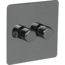 Axiom Flat Plate Black Nickel Dimmer Switch 250W 2 Gang 2 Way - 70803 - from Toolstation