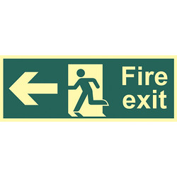Photoluminescent Fire Exit Sign Fire Exit Left - 71038 - from Toolstation