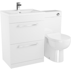 Cassellie 2 Drawer Bathroom Unit Gloss White 1100mm - 71077 - from Toolstation