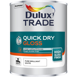 Dulux Trade Dulux Trade Quick Dry Gloss Paint Pure Brilliant White 1L - 71086 - from Toolstation