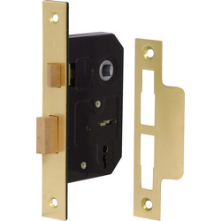Eclipse Ironmongery 3 Lever Mortice Sashlock 76mm Brass Plated - 71277 - from Toolstation