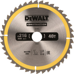 DeWalt DeWalt Construction Circular Saw Blade 216 x 30mm x 40T - 71290 - from Toolstation