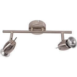 Inlight Pluto Satin Nickel GU10 2 Bar Spotlight  - 71460 - from Toolstation
