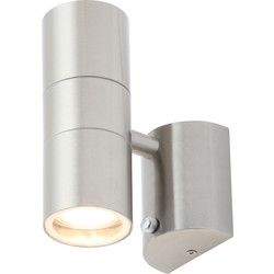 Zinc Leto Stainless Steel Up & Down Photocell Wall Light IP44 GU10 2 x 35W Max - 71706 - from Toolstation