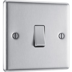 BG BG Brushed Steel 10A Switch 1 Gang 2 Way - 71747 - from Toolstation