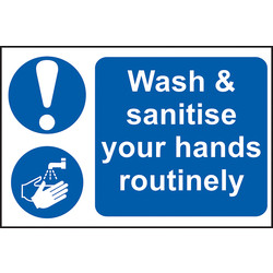 Centurion 'Wash & Sanitise Your Hands Routinely' Wall Sign 300 x 200mm - 71887 - from Toolstation