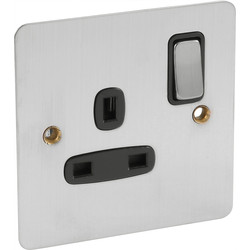 Flat Plate Satin Chrome 13A Switched Socket 1 Gang DP - 72170 - from Toolstation