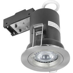 Meridian Lighting LED 5W COB Fire Rated GU10 Downlight Satin Chrome 330lm - 72256 - from Toolstation