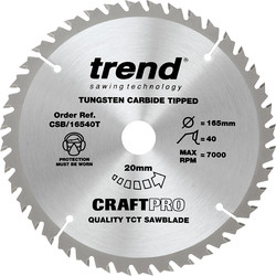 Craft Trend Craft Thin Kerf Circular Saw Blade 165 x 40T x 20mm CSB/16540T - 72634 - from Toolstation