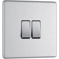 BG BG Screwless Flat Plate Brushed Stainless Steel 10AX Light Switch 2 Gang 2 Way - 72637 - from Toolstation