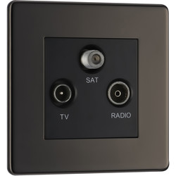 BG BG Screwless Flat Plate Black Nickel TV / Coaxial Sockets TV, FM, SAT Socket - 72716 - from Toolstation