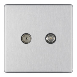 BG Screwless Flat Plate Brushed Stainless Steel TV Sockets