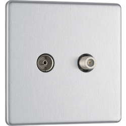 BG BG Screwless Flat Plate Brushed Stainless Steel TV Sockets 1 Gang Coaxial & Satellite Socket - 72891 - from Toolstation