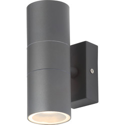 Zinc Leto Anthracite Stainless Steel Up & Down Wall Light IP44 GU10 2 x 35W Max - 72925 - from Toolstation