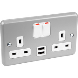 MK MK Metal Clad DP Switched Socket 2 Gang with 2 USB 2.0A - 73124 - from Toolstation